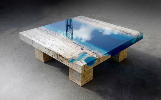 table, multple layers, translucent, marine, ocean, wood, marble, lagoon,resin,alexandre-chapelin-flowartstation