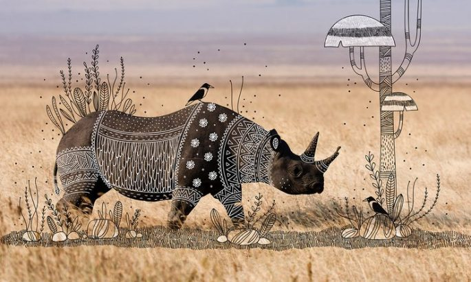 Illustrator-doodles-tribal-costumes-over-animal-photographs-04-740x445