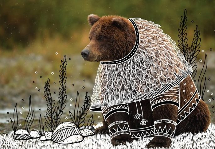Illustrator-doodles-tribal-costumes-over-animal-photographs-05-740x514