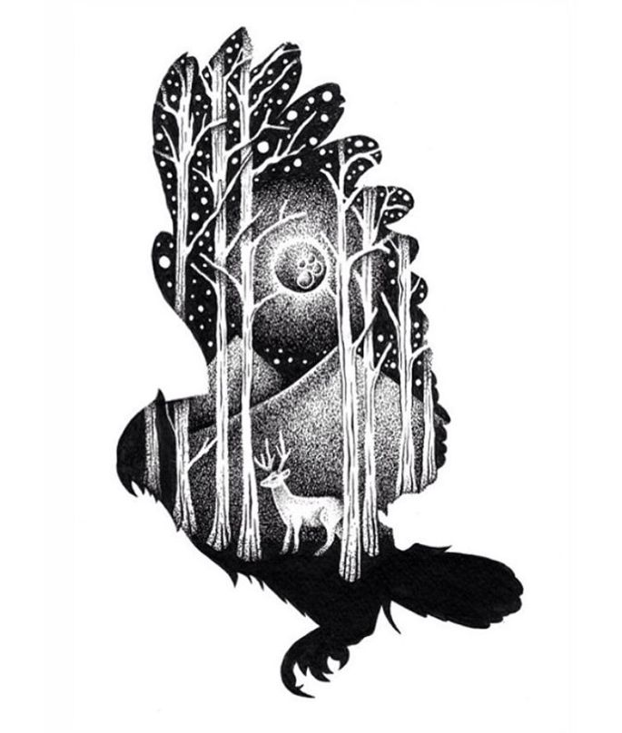 09-Owl-and-Deer-Thiago-Bianchini-Eclectic-Collection-of-Drawings-and-Illustrations-www-designstack-co