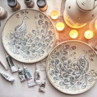 Dazzling Pointillism Art on Plates