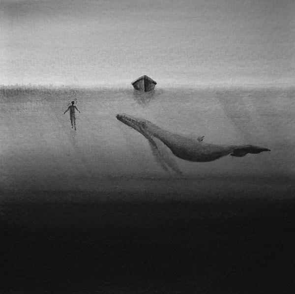 19-Silent-Reverie-Elicia-Edijanto-Minimalist-Black-and-White-Watercolors-www-designstack-co