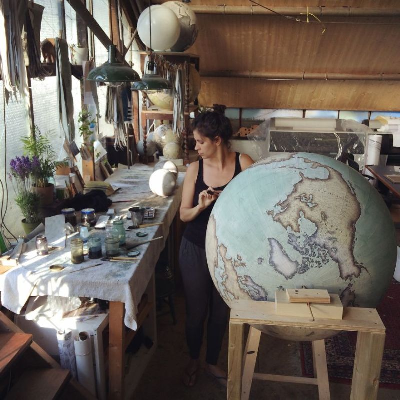 One of the challenges in globe making is the fight with Pi – if you don't constantly measure and re-measure, you will be unable to complete the process - One Of The World's Last Remaining Globe-Makers That Use The Ancient Art Of Making Globes By Hand