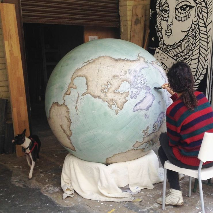 Painting our largest globe, the 127cm Churchill - One Of The World's Last Remaining Globe-Makers That Use The Ancient Art Of Making Globes By Hand