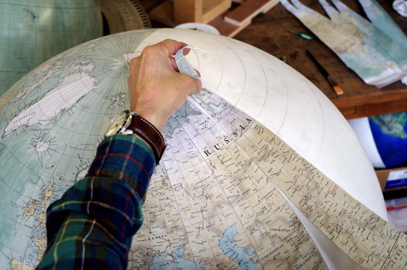 Favourite part? Putting on the last gore - One Of The World's Last Remaining Globe-Makers That Use The Ancient Art Of Making Globes By Hand
