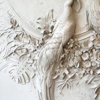 Interior Bas-Relief Sculptures of Peacocks and Lush Florals by Goga Tandashvili