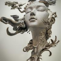 Sculptures Reimagine Women's Hair as Surreal Landscapes by Yuanxing Liang
