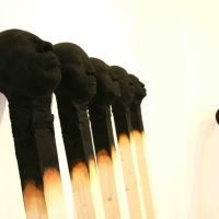 Giant Burnt Matches Sculptures by Wolfgang Stiller