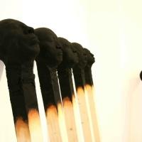 Giant Burnt Matches Sculptures by Wolfgang Stiller
